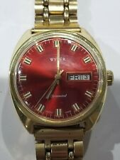 Vintage Wyler Day/Date Automatic With Rare Red Dial - Runs