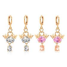 Fashion women Yellow Gold Filled Cute two butterfly dangle hoop Earrings Jewelry