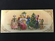 """Vintage 8"""" WIDE Christmas Greeting Card Decorate the Tree Family Eve Party Home"""