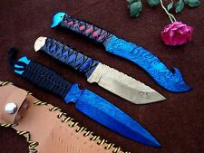BLUED & GOLD RBCUT Hand Forged Damascus KNIVES HUNTING,CAMPING.ANTIQUE SEREIS 64