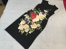 NWT Dolce & Gabbana black silk crepe sleeveless midi dress floral applique 46 14
