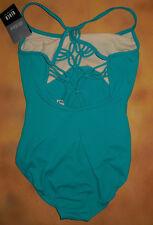 NWT Dance Bloch Vivid Green Leotard Diamond Knot Back Ladies Small Adult L6130