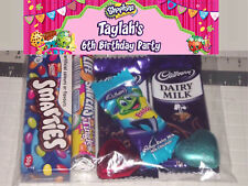 12 Kids Shopkins Personalised Birthday Party Lolly / Loot Bags Any Name & Age