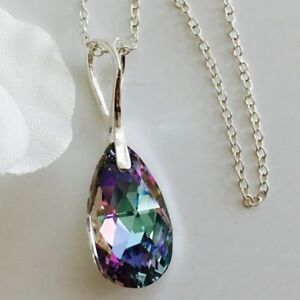 Made With Swarovski® Crystals 925 Silver Crystal Necklace Pendant Tear Pear