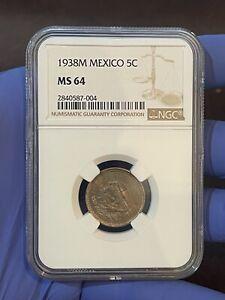 1938M Mexico 5 Centavos - Key Date - NGC MS 64 - KM#423