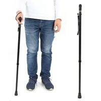 Anti-skid Folding Elderly Walking Stick Cane Crutch with Light for Elderly Gift