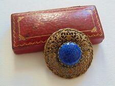 Peking Glass Gold Filigree Brooch Antique Beautiful Art Deco 20s 30s Czech Blue