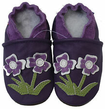 carozoo flower violet 3-4y soft sole leather toddler shoes