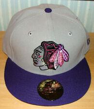Chicago Blackhawks New Era Hat Cap Grey Purple 7 1/2