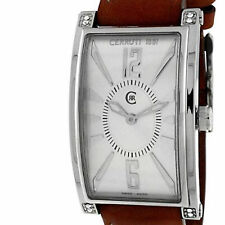 CERRUTI LADIES GENOVA DONNA SWISS WATCH NEW SILVER TAN LEATHER CT66342X103012