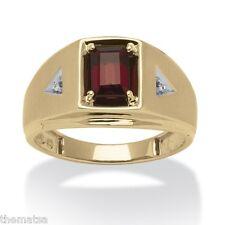 10K GOLD 1.20 TCW EMERALD CUT GARNET  DIAMOND ACCENT RING  SIZE 8 9 10 11 12 13