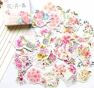 PINK FLOWER STICKERS Rose Floral Scrapbooking Journal Card Craft Decoration