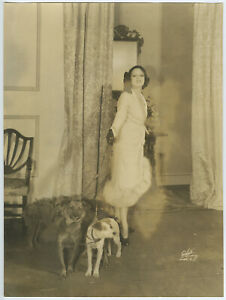 Original 1934 Large Format White Studio Photograph Lenore Ulric on Stage w/ Dogs