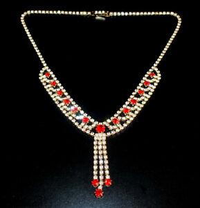 Zierliches Strass Collier - Crystal/Rot- 1A-Qualität aus Böhmen - #815
