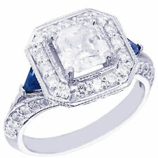 14K WHITE GOLD ASSCHER CUT DIAMOND AND TRIANGLE SAPPHIRE ENGAGEMENT RING 1.90CTW