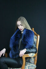 Silver Fox Fur Collar 55' (140cm) Fur Stole Saga Furs Blue Color Boa Big Scarf