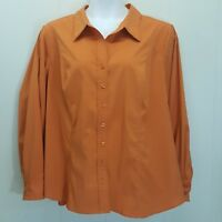 Lane Bryant 26 28 Shirt Top Blouse Orange Button Down Front Career Office