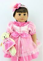 "Pink Dress with Teddy Bear Fits 18"" American Girl Doll Clothes"