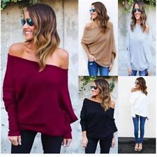 Women Batwing Long Sleeve Off Shoulder Jumper Pullover Loose Tops Blouse T-shirt