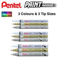 Pentel Paint Marker Permanent White, Gold & Silver. Extra Fine, Fine, Medium tip