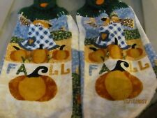 New listing Handmade Plush Crocheted Hanging Kitchen Towels Fall Scarecrow