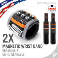 Magnetic Wristband Strong Magnets Holds Screws Nails Bit Valentines Gift 2PC