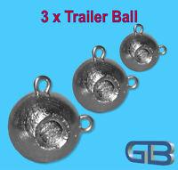 3 x Trailer Ball Kugelblei mit MINI Öse Jigkopf Rundkopf Grundblei.