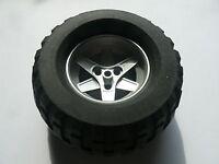 Lego 1 roue argent set 8466 / 1 metallic silver wheel and tire