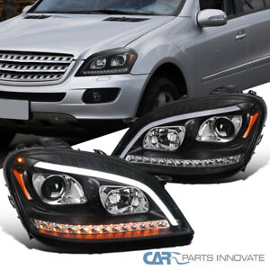 For 06-08 Benz W164 ML350 ML500 Black LED Sequential Projector Headlights Signal