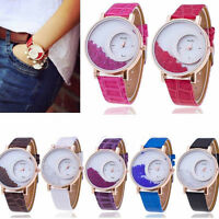 New Women Bracelet Bangle Leather Crystal Dial Quartz Analog Wrist Watch Hot 16Z