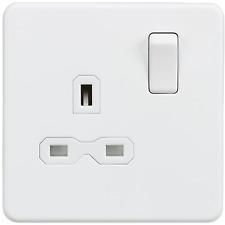 Screwless 13A 1G DP switched socket outlet Matt white - BS Standard Compliant