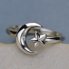 Sterling Silver .925 Celestial Moon Star Adjustable Finger Ring
