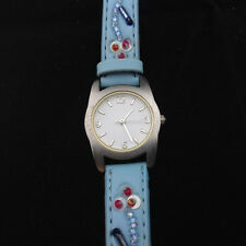 Blue Flower Girl's Fashion Wrist Watch Faux Leather Silver Tone White Round Face