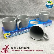 Set of 4 Grey Melamine 400ml Mugs Easy care, Lightweight & Tough Melamine  ME492
