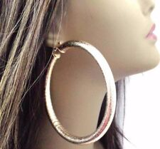 LARGE GOLD TUBE HOOP EARRINGS FROSTED GOLD SHINY HOOP EARRINGS 4 INCH