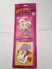 marvel superheroes jumbo valentine stickers 1992 spiderman, hulk,silver surfer,