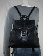 TIGNANELLO Small Med Black Leather Shoulder Hobo Tote Slouch BackPack Purse Bag