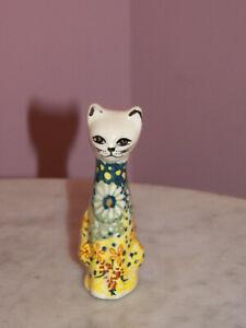 Polish Pottery Small Cat Figurine! UNIKAT Signature Exclusive Miss Daisy!