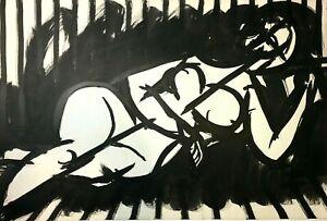 "Artist Robert Gilberg Original Pen & Ink on paper ""Woman Lying"""