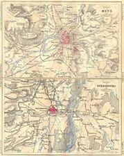Moselle. zone de metz; strasbourg 1884 old antique vintage carte plan graphique