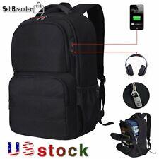 Mens Anti Theft 17.3' Laptop Backpack USB Charging Waterproof Travel School Bag