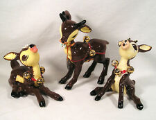 "Napco Christmas Large 6"" Reindeer Figurines ""DEAR AND DEAREST"" Napcoware Figures"