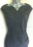 LK BENNETT black&white tweed sleeveless wool mix dress sweetheart neckline14VGC
