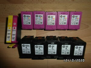 HP 62 EMPTY Ink cartridges 5 Black 5 colour + 2 x HP 364  12 total