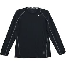 Nike Pro Dri Fit Fitted Long Sleeve Shirt Mens M Medium Black Pullover Athletic