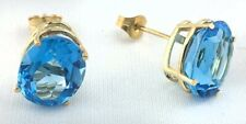 GENUINE 5.22 Cts BLUE TOPAZ STUD EARRINGS 14K GOLD * Free Shipping * Made in USA