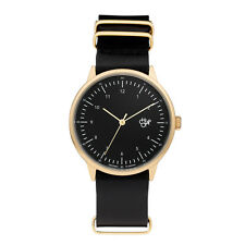 CHEAPO NEW Leather Watch Black/Gold Harold BNIB