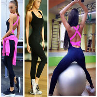 Womens Yoga Jumpsuit Gym sports Leggings Fitness Pants Athletic Workout  Clothes