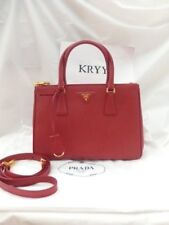 NWT Prada Saffiano Lux Double Zip Tote Shoulder Bag BN1801, Red $2200