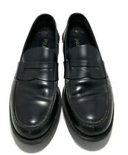 PRADA MEN'S INK LEATHER LOAFERS, 7.5, $745